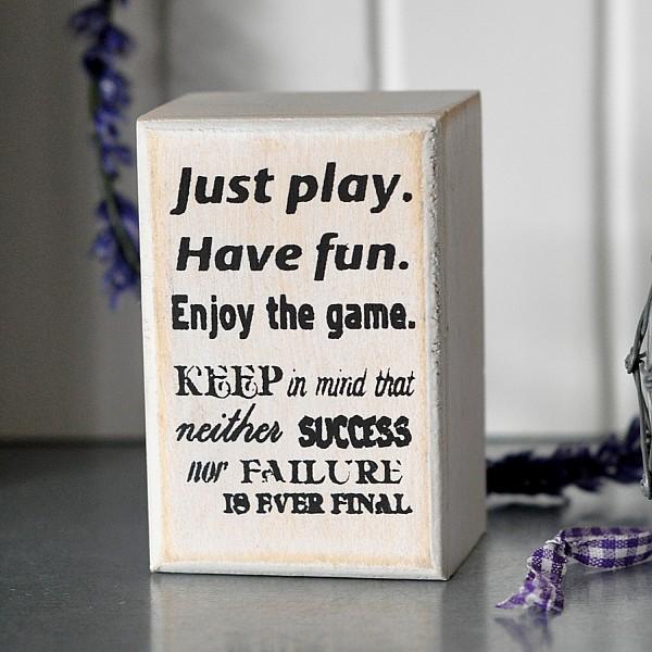 Liten tavla/block Just play