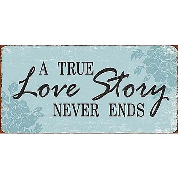 Magnet/Kylskåpsmagnet A true love story never ends - Blå