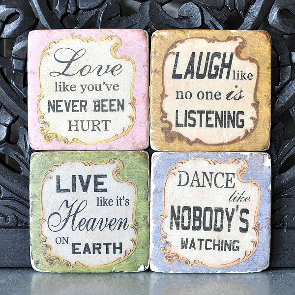 Coasters Love Laugh Live Dance