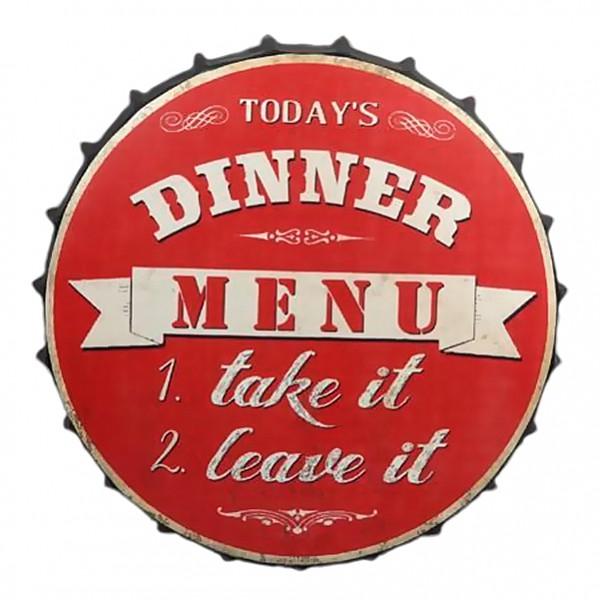 Plåtskylt Kapsyl Today's dinner menu