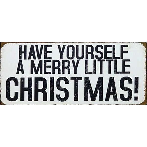Plåtskylt Merry little Christmas