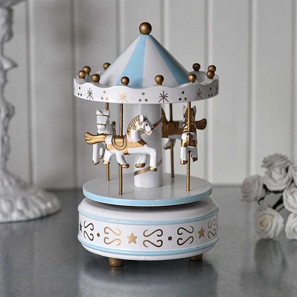 Speldosa Karusell i trä Blå/Vit med detaljer i guld - Liten