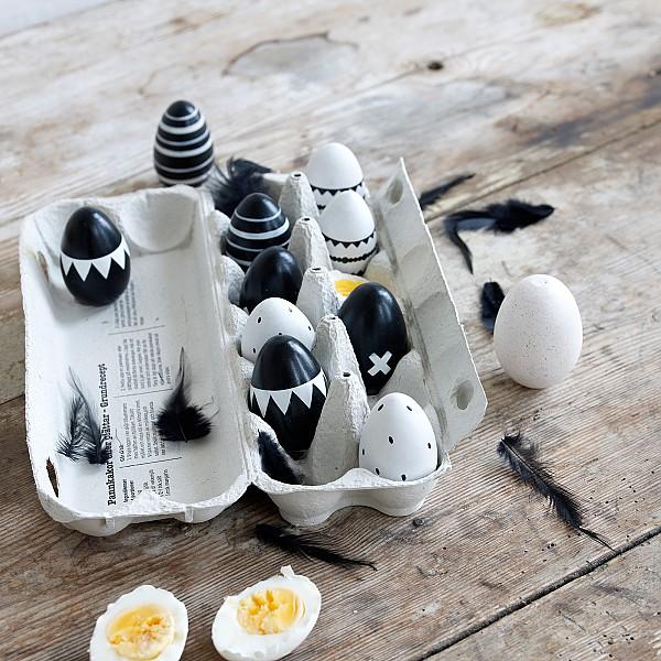 Easter Eggs 5 pcs Black / White - Small