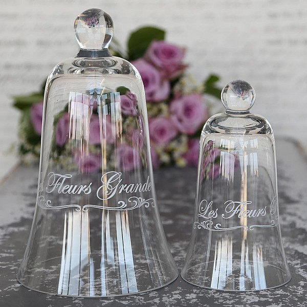 Glass Cloche with text Les Fleurs Grande - Large