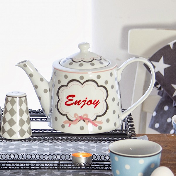 Happy Teapot Enjoy - White
