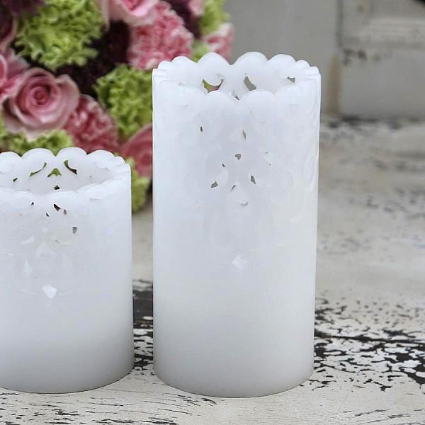 Stearinljus med batteri Lace - Höjd 15 cm