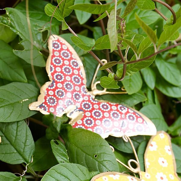 Fjäril i plåt - Röd