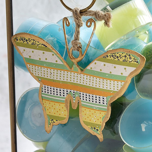 Butterfly in sheet metal - Yellow / Green / Orange