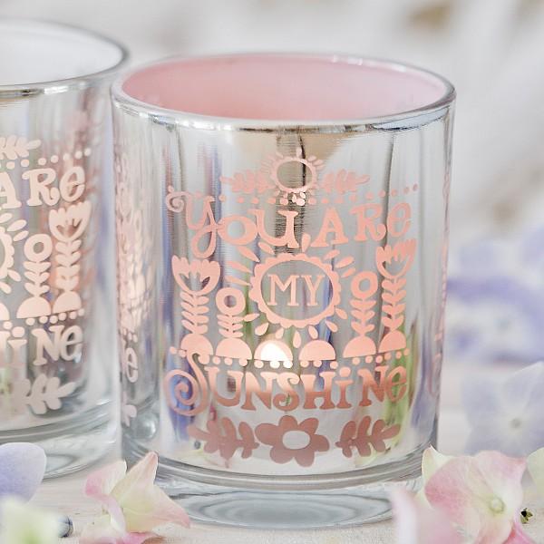 Ljuslykta You are my sunshine - Silver/Rosa