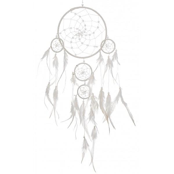 Drömfångare med pärlor - Vit