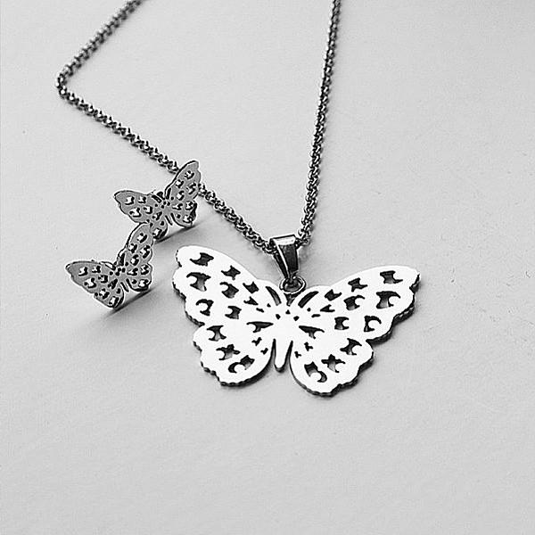 Halsband och örhängen Fjäril
