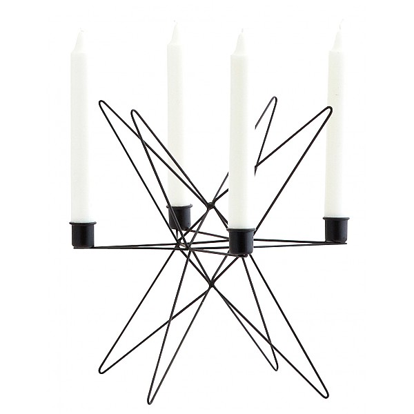Candlestick Star for 4 candles - Black