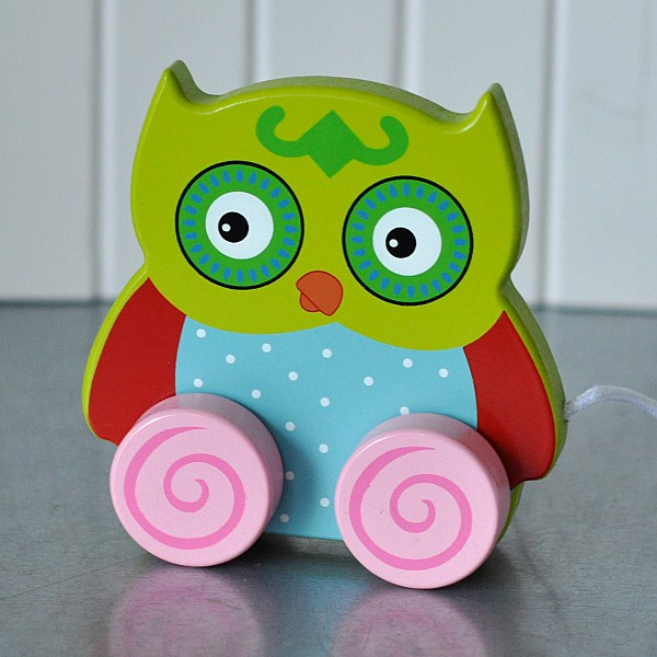 Owl Pull Toy Ludde - Green head