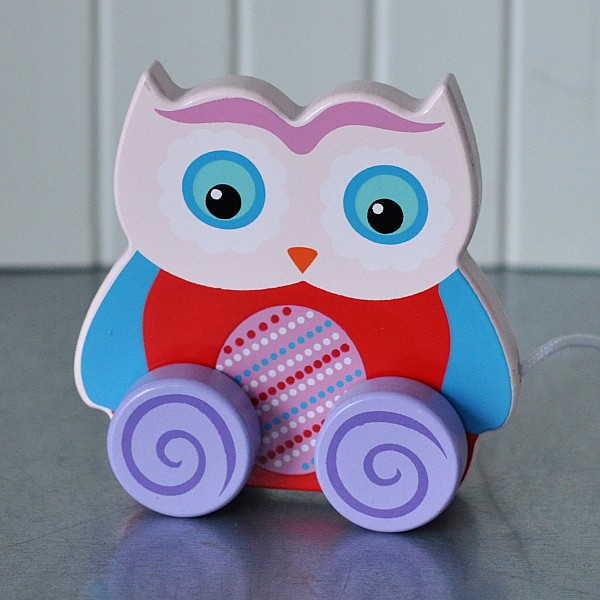 Owl Pull Toy Ludde - Pink head