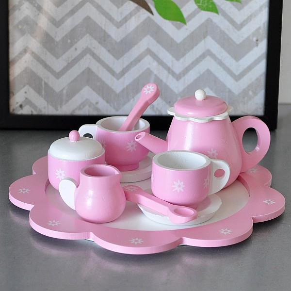 Hölzernes Teeset - Rosa / Weiß
