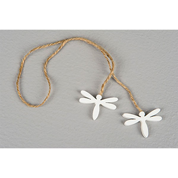 Hanging Wooden Dragonfly - White