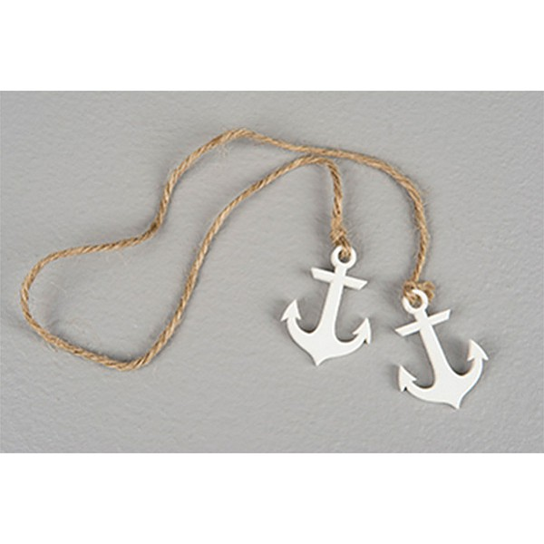 Hanging Wooden Anchor - White