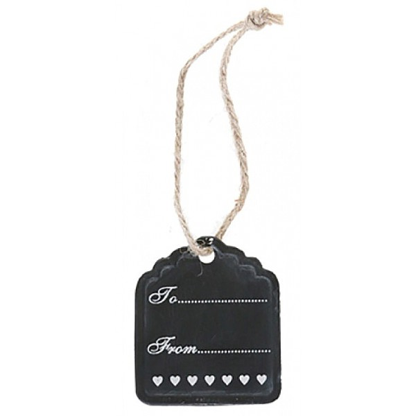 Gift Tag with white hearts