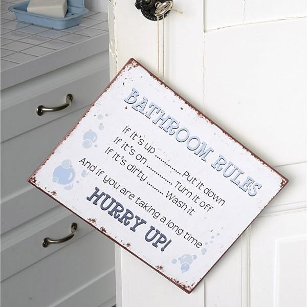 Plåtskylt Bathroom Rules - Hurry up!
