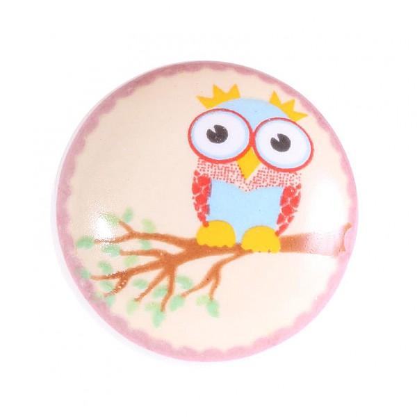 Porcelain knob Owl on a branch