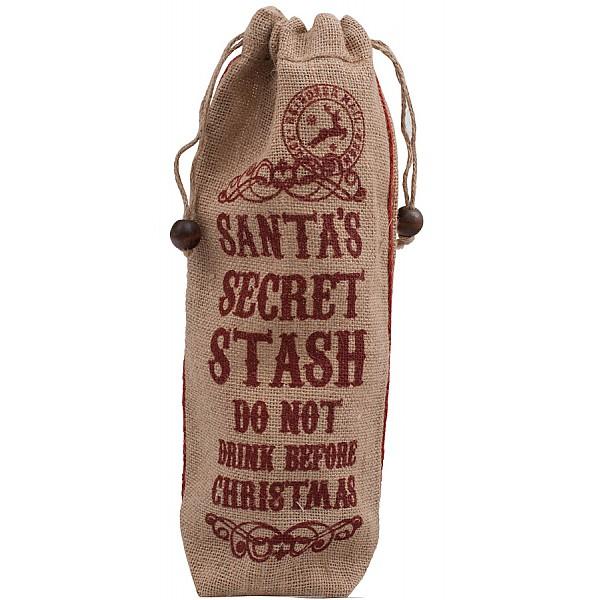 Flaskpåse i jute Santas Secret Stash