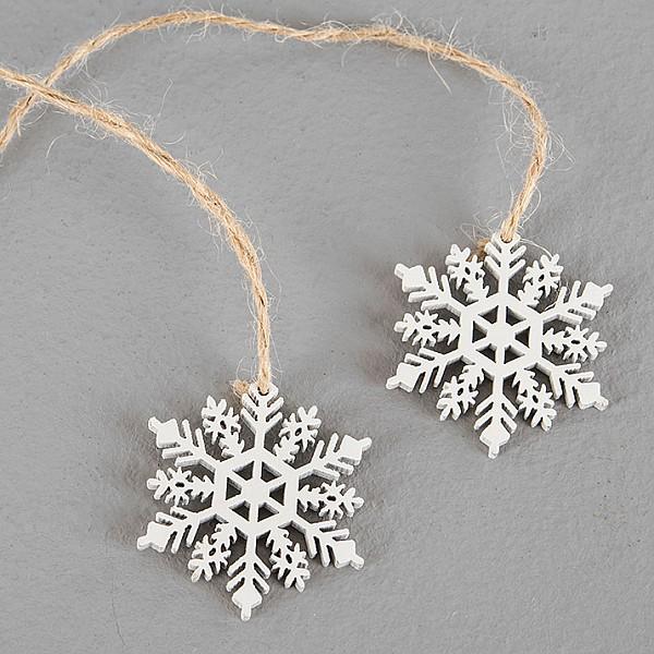 Snowflakes on a string - White