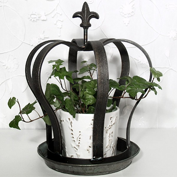 Crown in wrought iron with dish - Small