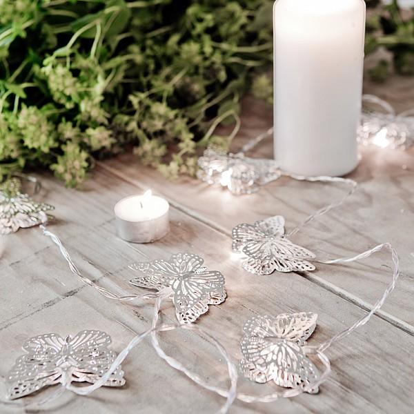Lichterkette Schmetterling LED - Silber