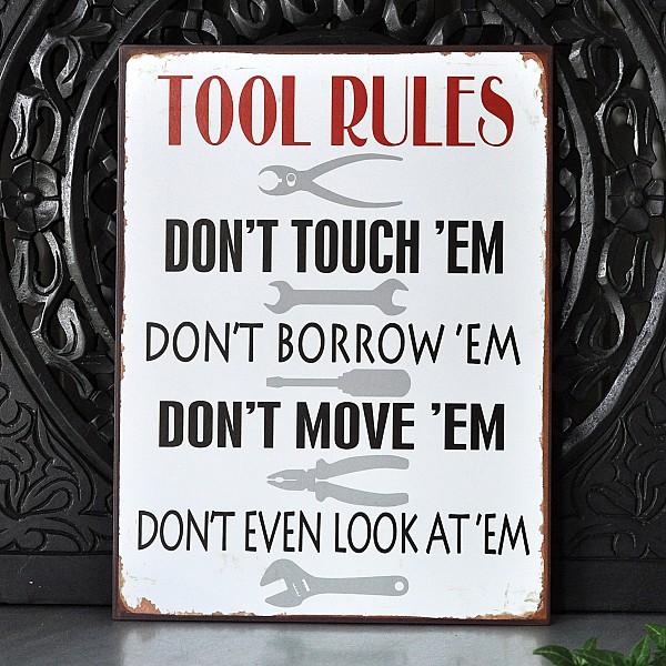 Plåtskylt Tool Rules