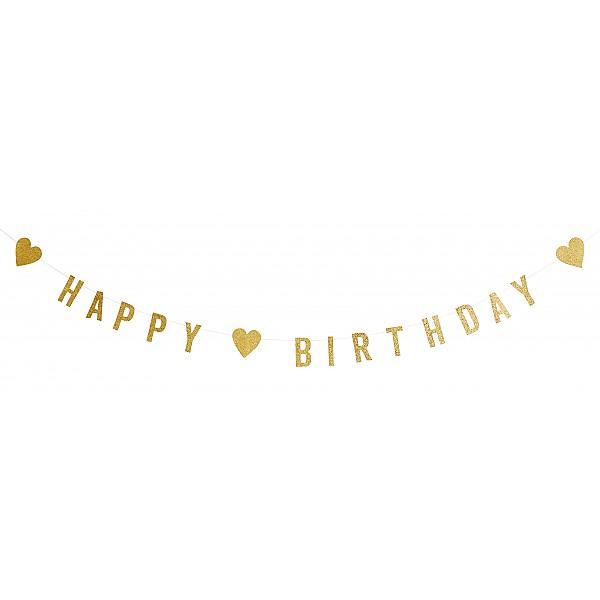 Girlang Happy Birthday - Guld