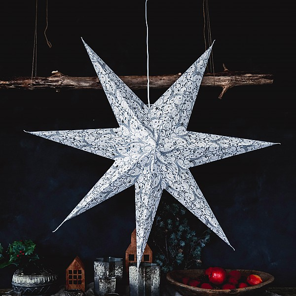 Majas Christmas Star Decor Large - Weiß / Silber