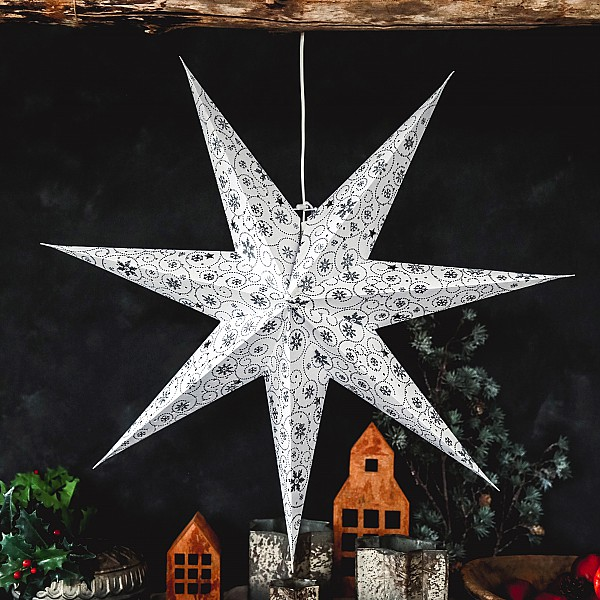 Majas Christmas Star Decor Small - Weiß / Silber