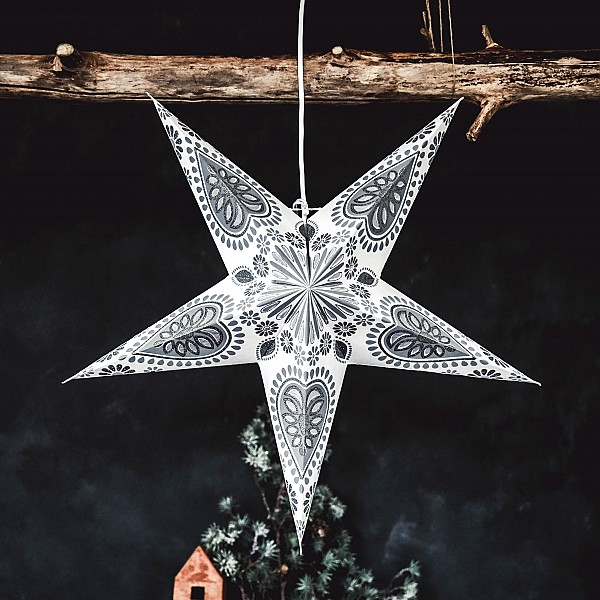 Majas Christmas Star Oriental - White / Grey