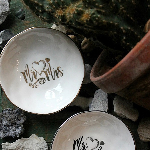 Majas Mini Bowl Mr & Mrs - White / Gold