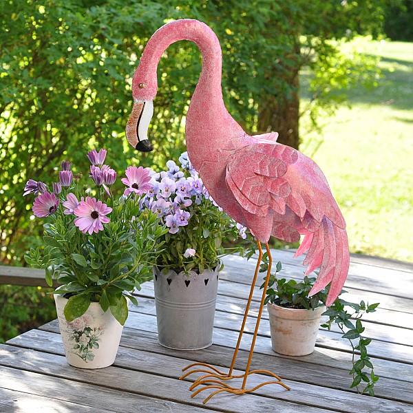 Flamingo i plåt Rosa - Liten