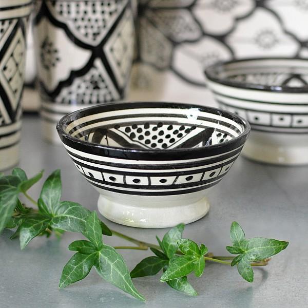 Marokkanische Schüssel Safi 10 cm - Schwarz / Weiß