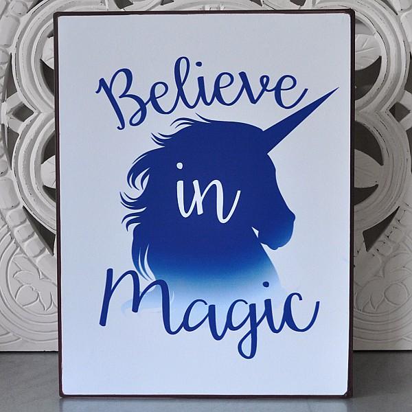 Plåtskylt Unicorn Believe in magic