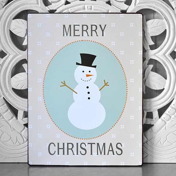 Tin Sign Snowman Merry Christmas