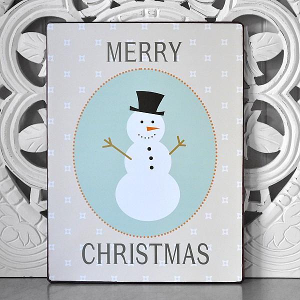 Blechschild Schneemann Frohe Weihnachten