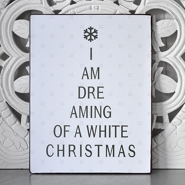 Tin Sign Christmas Tree I am dreaming of a white Christmas