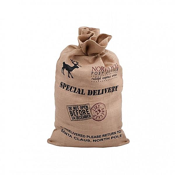 Julklappssäck i jute Special Delivery - Mellan