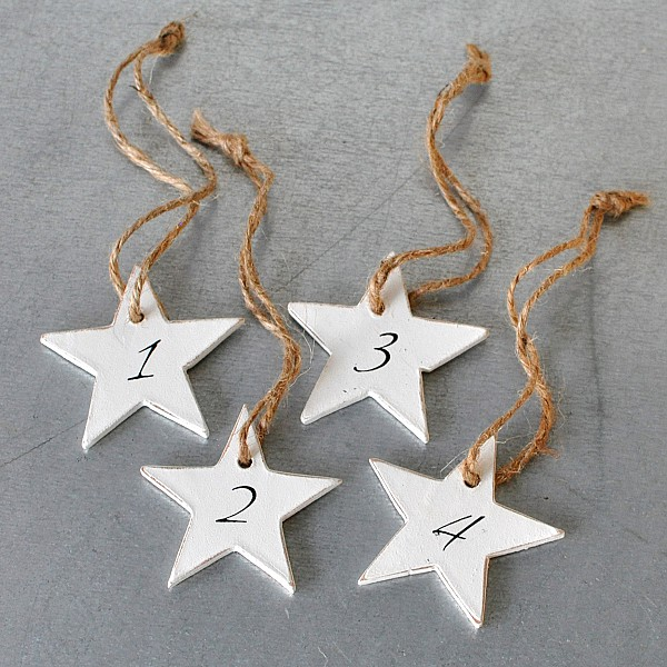 Advent Numbers Stars in Holz 1-4