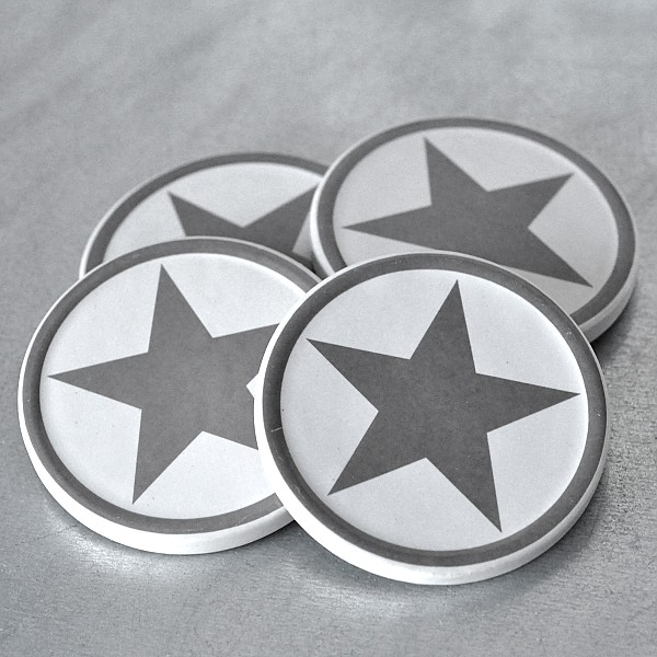 Glasunderlägg Stjärna - Grå