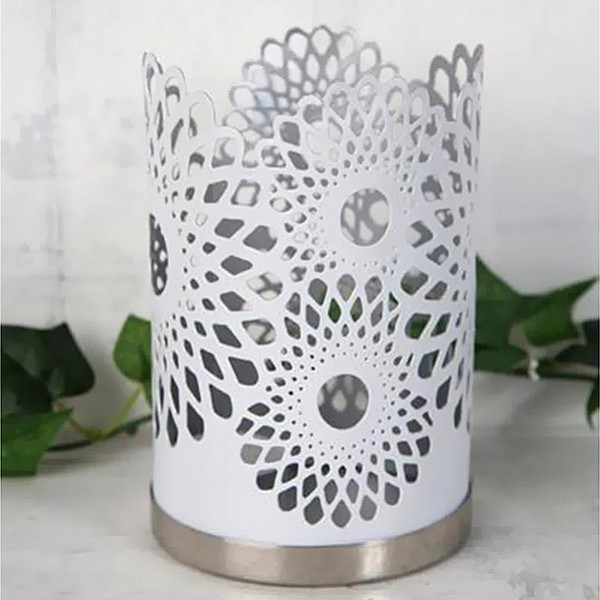 Candle Holder Chic White / Silver - Medium