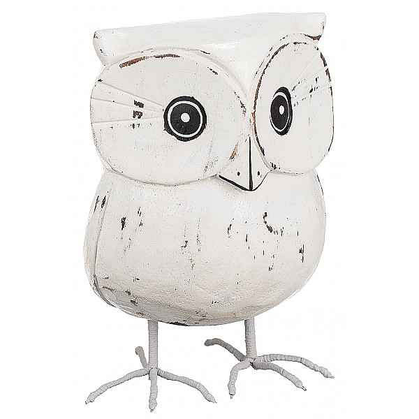 Wooden Owl with metal legs White - Large