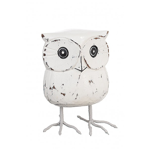 Wooden Owl with metal legs White - Small