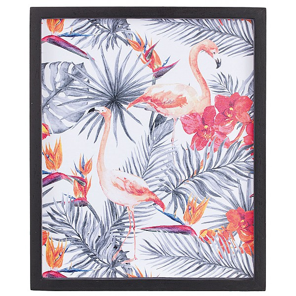 Picture Flamingos among flowers and leaves