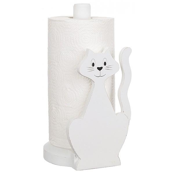 Hushållspappershållare Katt - Vit