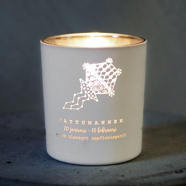 Majas Candle Holder Zodiac Sign White - Vattumannen