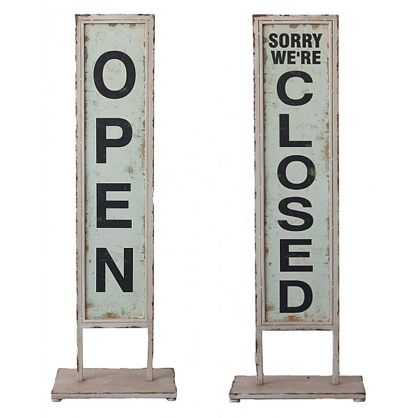 Skylt på fot Open/Closed